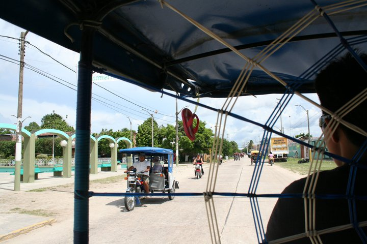 A view from the motocarro on the streets of Iquitos.